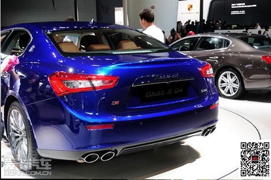 2014款蓝色四门轿车ghibli亮相车展接受预定中高清图片