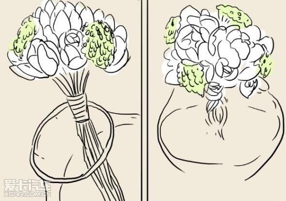步骤五:接着继续添加玫瑰以及绿色植物,注意它们的高度,让整个手