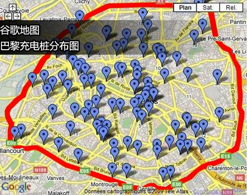 【谷歌地图显示北京电桩分布图】