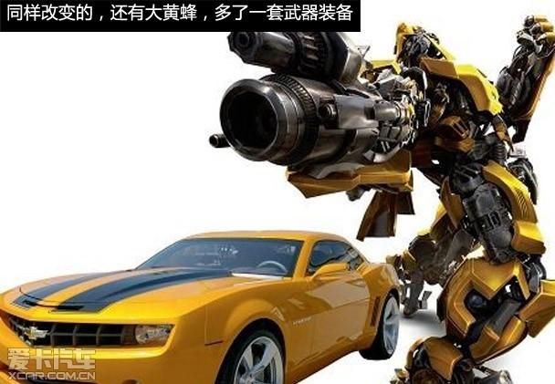 在《变形金刚3》雪佛兰品牌专门为大黄蜂制作了Camaro特别版,这款变形金刚特别版车型车漆采用了标准的黄颜色为外观主色配以黑色纹饰,内饰带有明显的电影印记——变形金刚博派的徽标,并配备了20英寸的大尺寸轮圈。