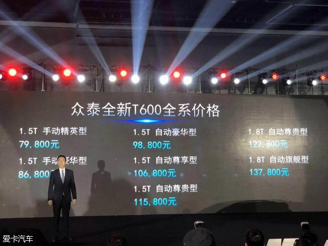 全新众泰T600上市 售价7.98-13.78万元