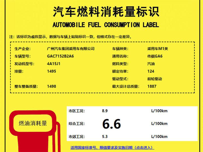 广汽传祺全新GA6动力 搭1.5T/油耗6.6L