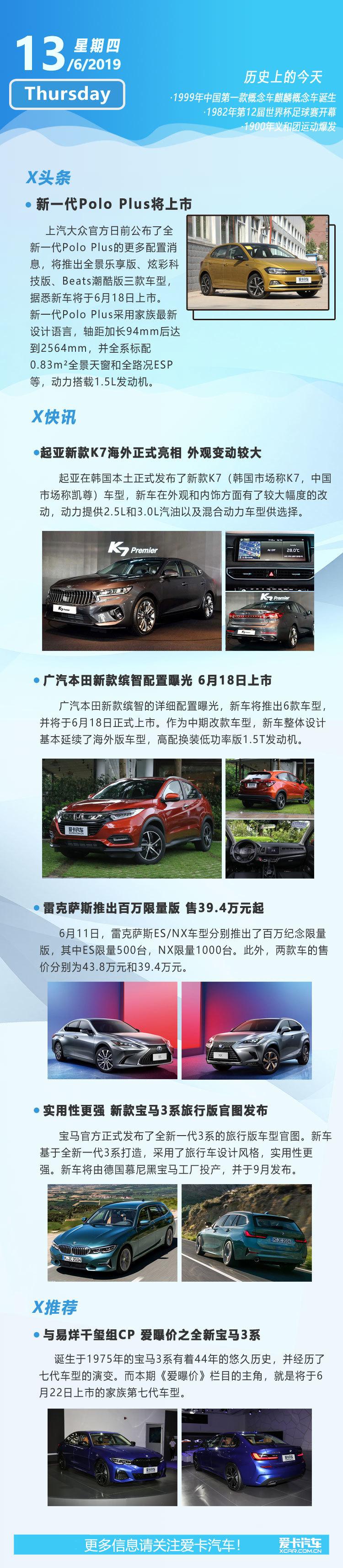 6月13日早报 新一代Polo Plus/新缤智等