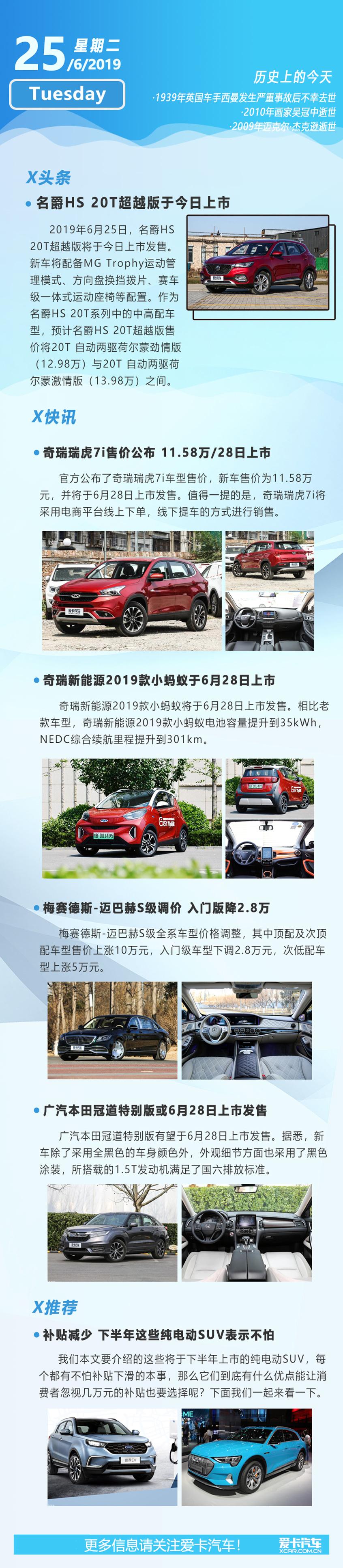6月25日早报 奇瑞瑞虎7i/名爵HS新车型