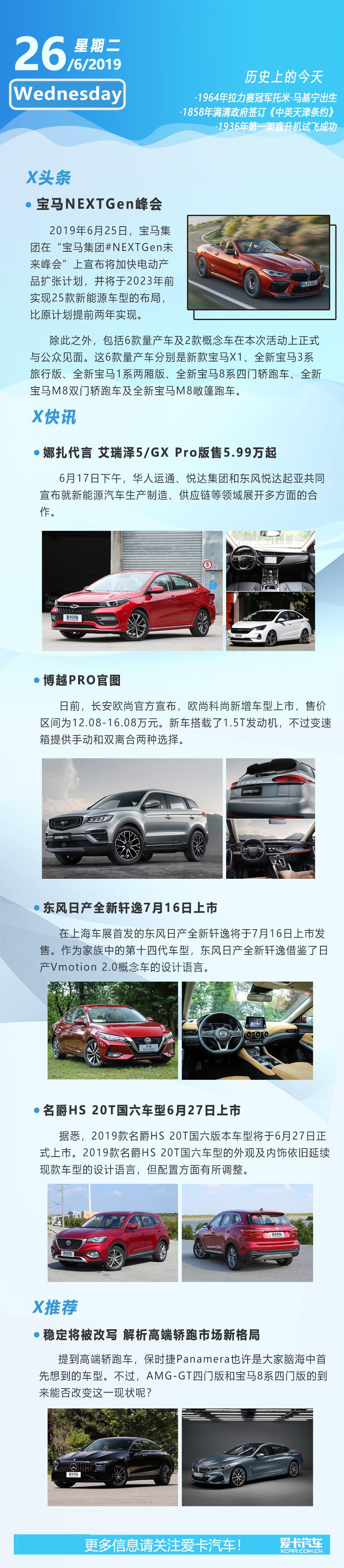 6月26日早报 宝马NEXTgen未来峰会8新车