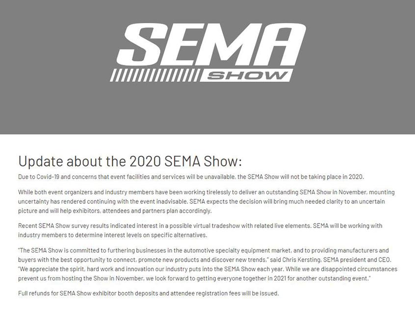 疫情影响 2020北美SEMA改装展宣布取消