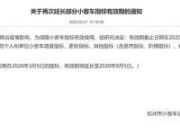 杭州:部分小客车指标有效期延长6个月