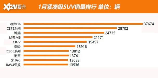 一月緊湊SUV銷量排行 中國品牌車型奧利給