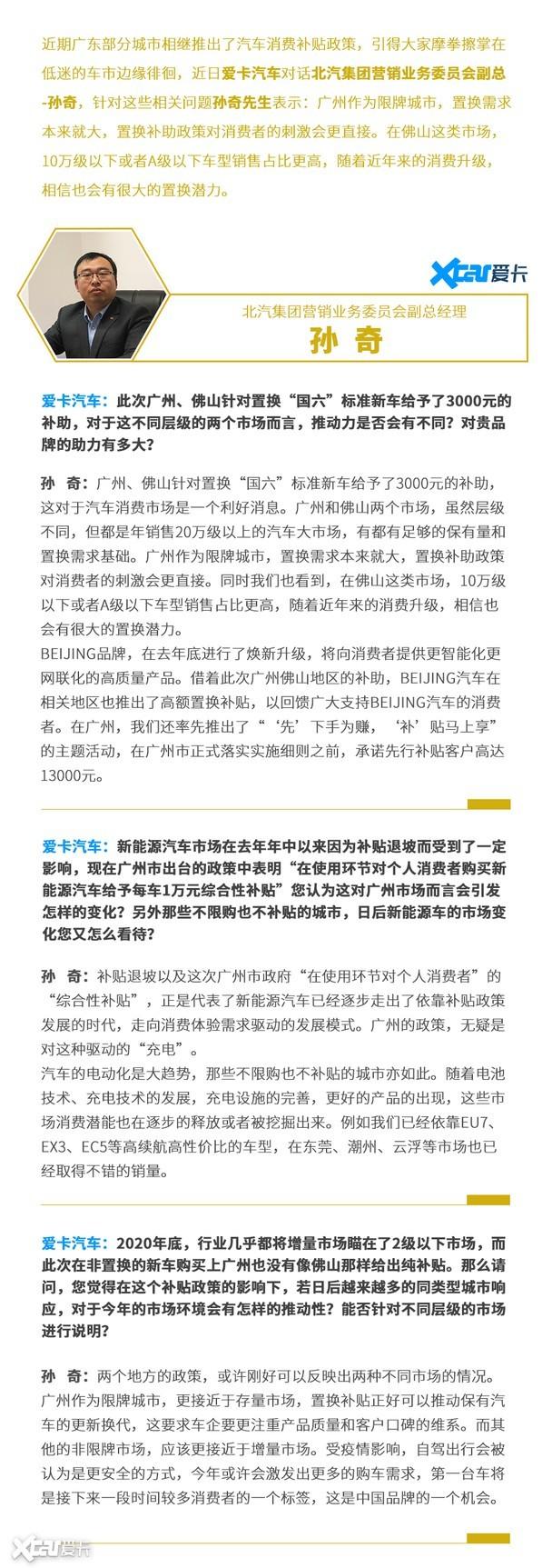 北汽集团 孙奇 对话 广东 广州 佛山 购车补贴政策
